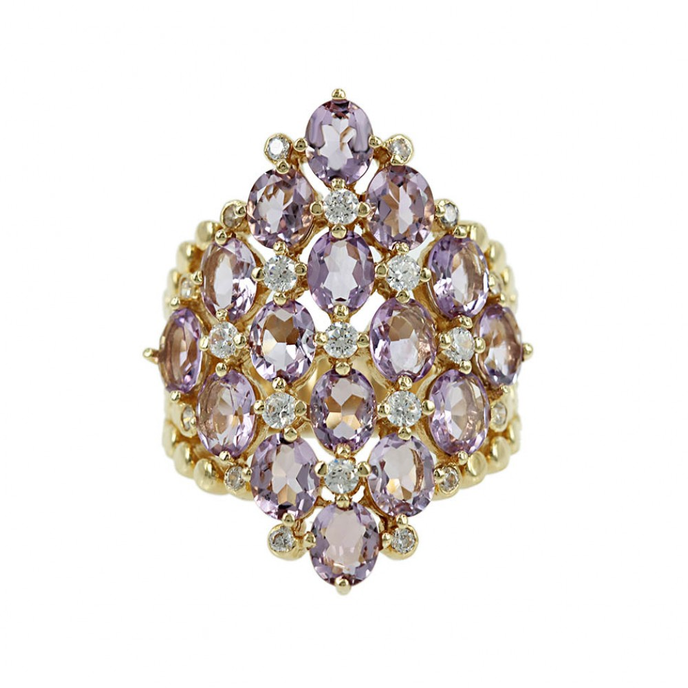 Ring Yellow gold K14 with Amethyst and Semiprecious crystals Code 005779