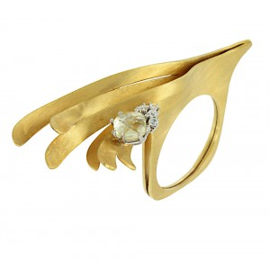 Handmade ring Yellow and white gold K14 Lemon Quartz Code 005818