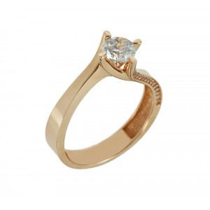Solitaire ring Pink gold K14 with semiprecious stones Code 005958