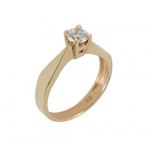 Solitaire ring Pink gold K14 with semiprecious stone Code 006086