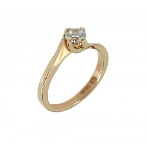 Solitaire ring Pink gold K14 with semiprecious stone Code 006089