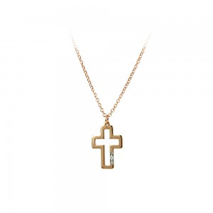 Cross with chain Pink gold K14 and diamonds code 006569