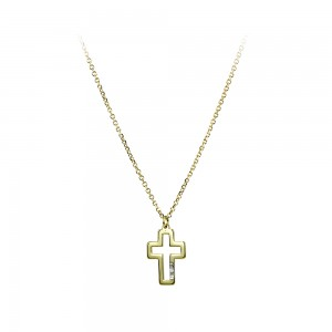 Cross with chain Yellow gold K14 and diamond Code 006595