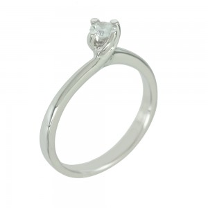 Solitaire ring White gold K14 with semiprecious stone Code 006651