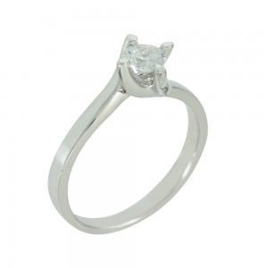 Solitaire ring White gold  K14 with semiprecious stone Code 006652