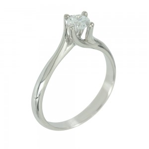 Solitaire ring White gold  K14 with semiprecious stone Code 006653