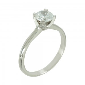 Solitaire ring White gold  K14 with semiprecious stone Code 006654