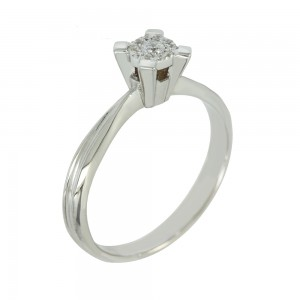 Solitaire ring White gold  K14 with semiprecious stone Code 006655