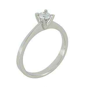 Solitaire ring White gold  K14 with semiprecious stone Code 006656