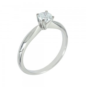 Solitaire ring White gold  K14 with semiprecious stone Code 006657