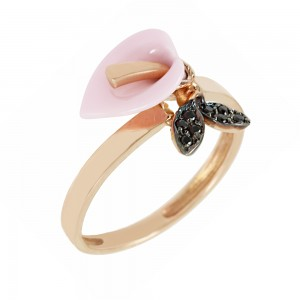 Ring Flower Lily Pink gold K14 with ceramic and semiprecious stone Code 006826