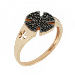 Chevalier Ring Pink gold K14 with semiprecious stones Code 006827