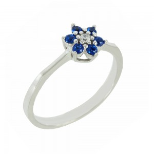 Ring flower White goldK14 with semiprecious stones Code 006855
