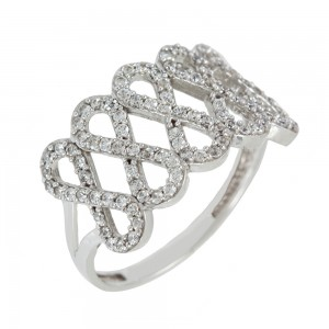 Ring  White gold K14 with semiprecious stones Code 006884