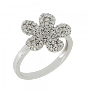 Ring Flower White gold K14 with semiprecious stones Code 006885