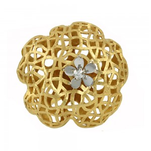 Ring 3D Yellow and white gold K14 Code 006896