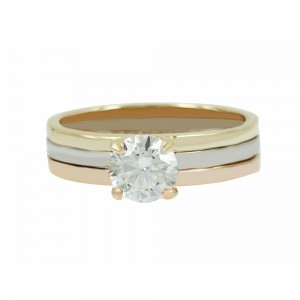 Solitaire ring Yellow,pink and white gold K14 with semiprecious stone Code 006910