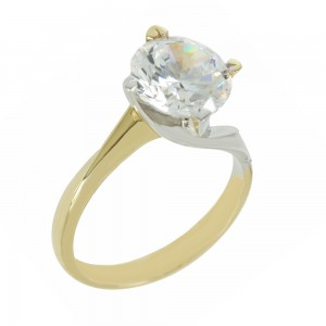 Bicolor Solitaire ring Yellow and white gold K14 with semiprecious stone Code 006915