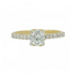 Solitaire ring Yellow gold K14 with semiprecious stones Code 006921