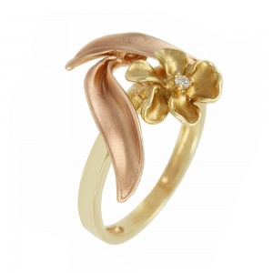 Ring Flower Yellow and pink gold K14 with semiprecious stone Code 006927