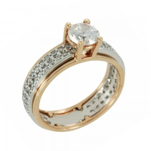 Bicolor Solitaire ring Pink and white gold K14 with semiprecious stones Code 006994