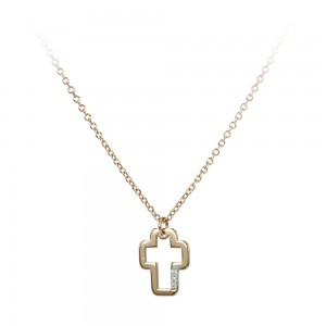 Cross with chain Pink gold K14 with  diamond code 007111