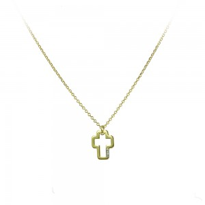 Cross with chain Yellow gold  K14 and diamond Brilliant cut Code 007297