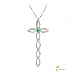 Woman's cross pendant  with chain, K18 with emerald and diamonds 003493