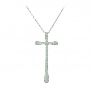 Woman's cross pendant  with chain, K18 and diamonds 003661