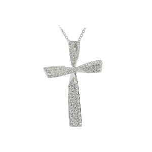 Woman's cross pendant  with chain, K18 and diamonds 003983 White gold