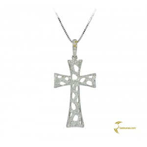 Woman's cross pendant  with chain, K18 and diamonds 004117