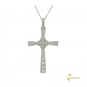 Woman's cross pendant  with chain, K18 and diamonds 004119