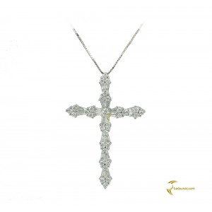 Woman's cross pendant  with chain, K18 and diamonds 004120