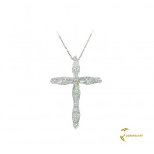 Woman's cross pendant  with chain, K18 and diamonds 004122