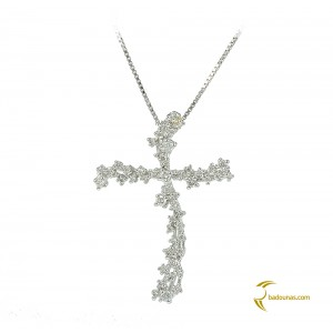 Woman's cross pendant  with chain, K18 and diamonds 004124