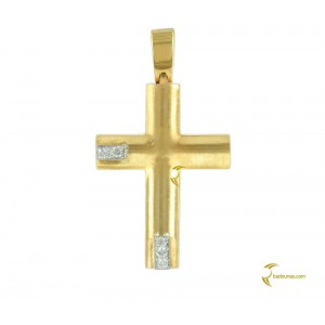 Woman's cross pendant  K18 with Diamonds 004193