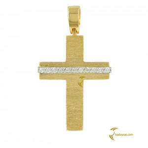 Woman's cross pendant  K18 with Diamonds 004194