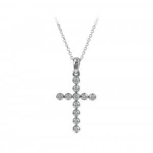 Woman's cross  with chain K18 white gold and diamonds 005085