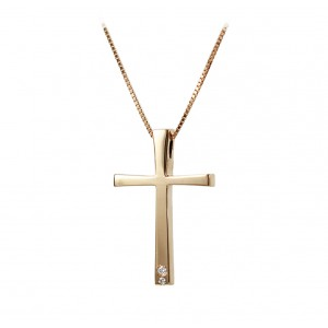 Woman's cross pendant  with chain, K18 and diamonds 005577 Pink gold