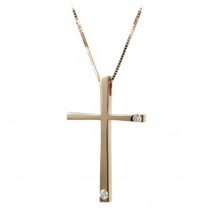 Woman's cross pendant  with chain, K18 and diamonds 006307 Pink gold