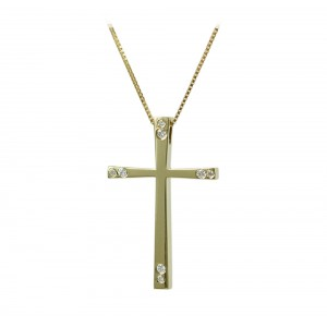 Woman's cross pendant  with chain, K18 and diamonds 006337 Yellow gold