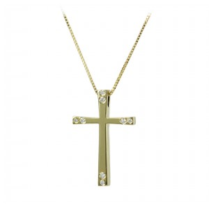 Woman's cross pendant  with chain, K18 and diamonds 006338 Yellow gold