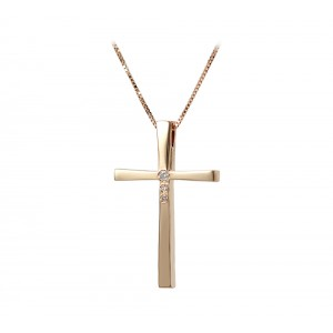 Woman's cross pendant  with chain, K18 and diamonds 006704 Pink gold