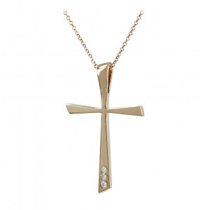 Woman's cross pendant  with chain, K18 and diamonds 006776 Pink gold