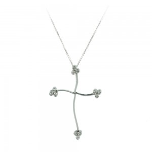 Woman's cross pendant  with chain, K18 with diamonds 007028 White gold