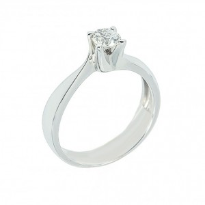 Solitaire ring White gold K18 with diamond Code 003040
