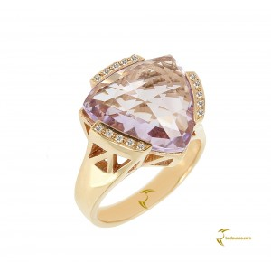 Diamond ring Pink gold K18 with Amethyst and Diamonds Code 003619