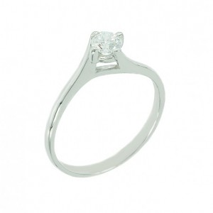 Solitaire ring White gold K18 with diamond Code 003718