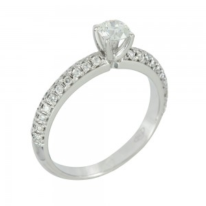 Solitaire ring White gold K18 with diamonds Code 003912