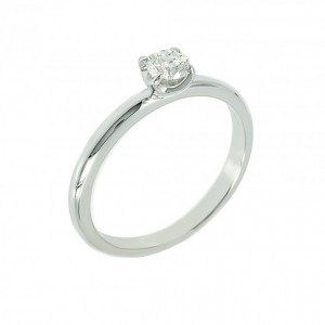 Solitaire ring White gold K18 with diamond Code 003967
